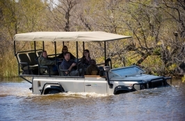 river crossing on game drive in Africa
