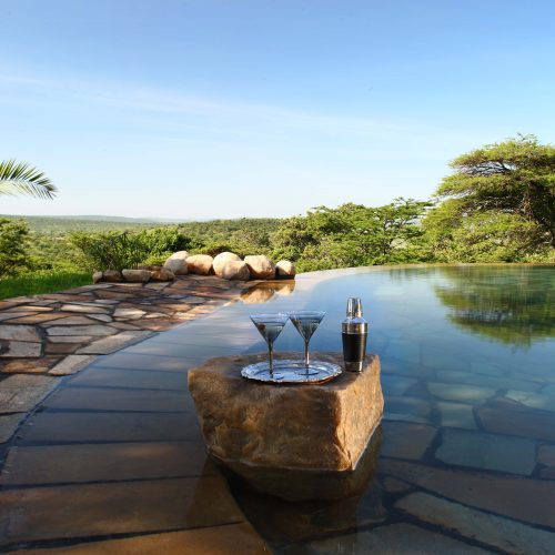 Cottars - New swimming pool with cocktail glasses
